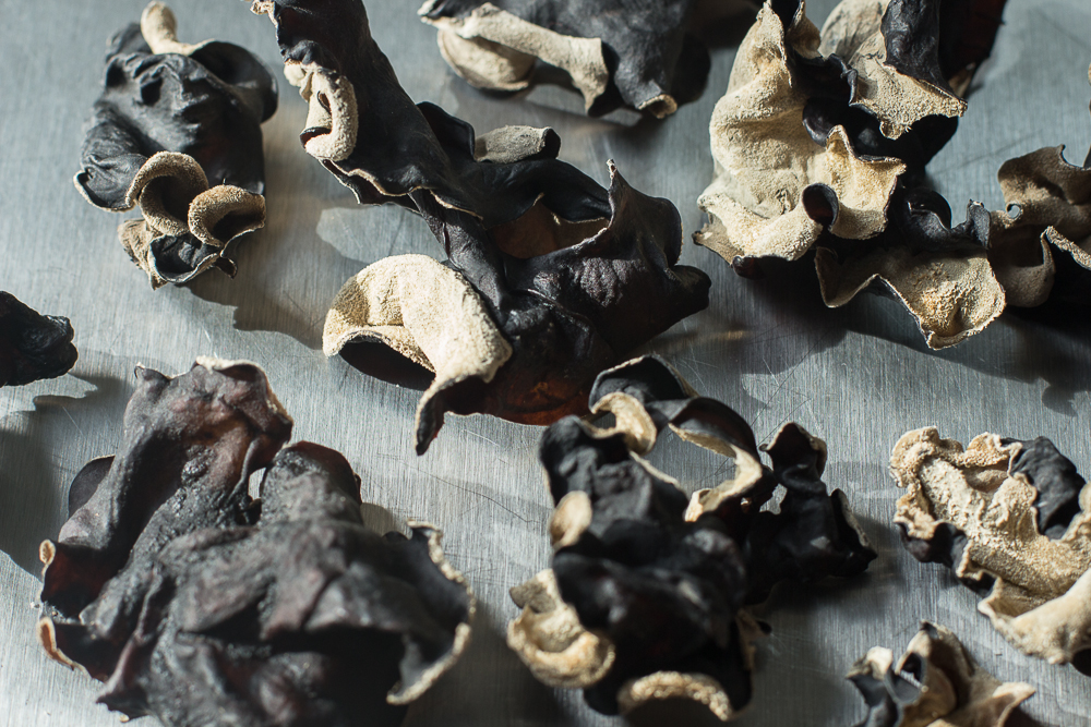 Dried wood ear mushrooms. Select whole. These will rehydrate to MANY times their dried size.