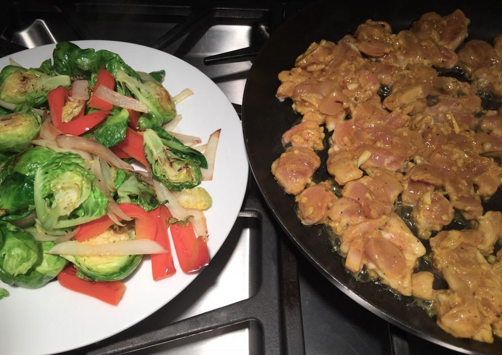 Browned but still crunchy vegetables set aside whilst chicken cooks