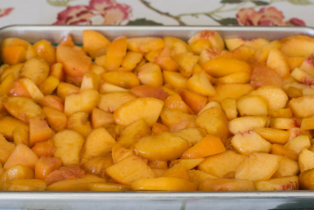 Four Cups of Prepared Peaches Fill a 9 x 13-inch Pan